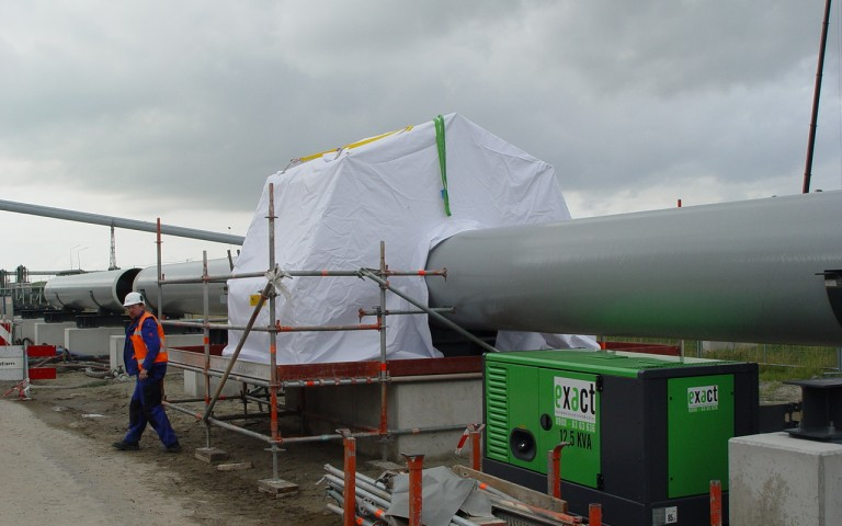 Customized pipeline tent at construction site